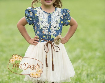 Denim Flower Girl
