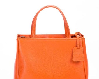 Leather tote, leather handbag, leather tote bag, orange leather bag, black handbag, leather bag