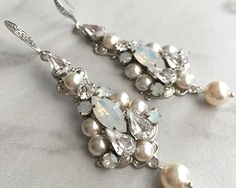 Opal wedding earrings