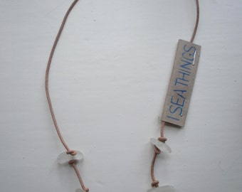 Hand-made leather necklace with white sea glass