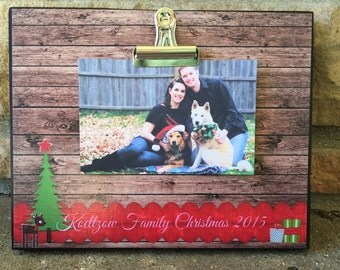 Personalized Christmas Picture Frame, Family Christmas Frame, Christmas Gift, 8x10 Board With Clip Picture Display