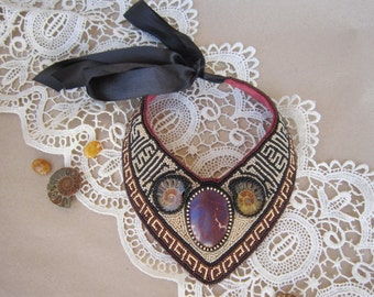 Embroidery bib necklace. Statement necklace with ammonite fossil. Beadwork necklace. Seed beeds necklace