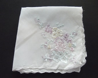 Elegant Satiny Sheer Ivory Machine Embroidered Floral Vintage Hankie Scalloped Edge Collectible Estate Sale 1960's