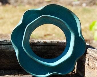 Turquoise ceramic Posey Ring Vase