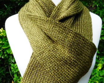 Green Olive Knit Scarf
