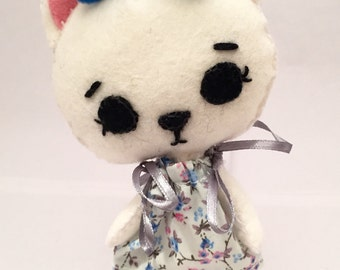 Handmade Pink and White Kitten/Cat - 100% Wool Felt