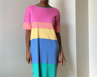 80s 90s Mark Fore and Strike Rainbow Pastel Color Block Midi Dress with Button Accents