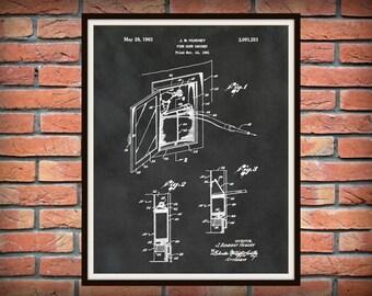 Patent 1963 Fire Hose Cabinet  - Art Print - Poster - Fire House Wall Art - Fire Fighter - Fire Rescue Art - Fire Truck Equipment