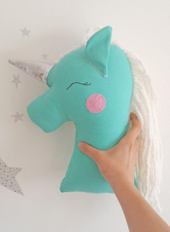 Mint 7pcs Unicorn Conical Gradient Color Makeup Brushes: Unicorn Pillow Plush Toy Mint Unicorn Nursery Decor By