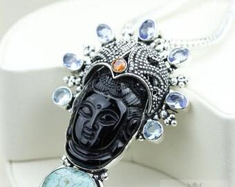 Full on Fancy! Kwan Yin Guanyin BUDDHA Goddess Face Moon Face 925 S0LID Sterling Silver Pendant + 4MM Chain & Free Shipping p3754