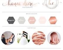 Rose Gold Photography Logo Kit Branding / Custom Logo design / Watercolor Premade branding package / Stamp watermark Calligraphy 43