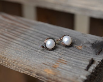 Fresh Water Pearl Copper Wire Wrapped Post Earrings FREE SHIPPING