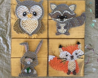 Woodland Creatures String art, Woodland Nursery Decor