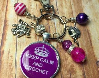 Crochet keyring keychain, keep calm and crochet, handmade gift