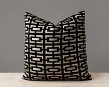 Geometric Black Velvet Pillow Cover Black and Gold Pillows Decorative Throw Pillow Geometric Pillow Modern Home Decor 18x18 20x20 22x22