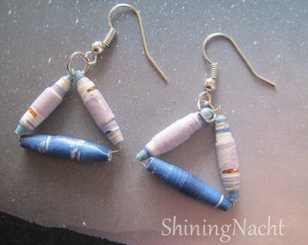 Upcycled Blue & Violet Paper Triangle Earrings
