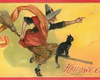 Flying Witch, Flying Broomstick, Witch Flying, Broomstick Flying, Halloween Witch, Flying Witch Broomstick, Halloween Flying Witch, Tuck Art