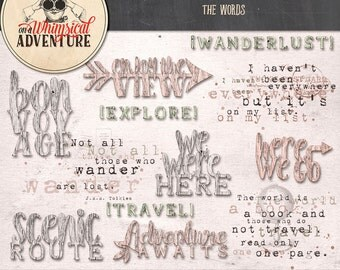Travel digital word art instant download, digital scrapbooking elements, chunky wooden words, travel quotes, travel phrases, here we go