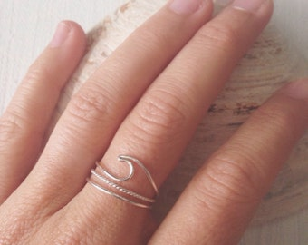 Wave Ring - TERRAMAR - Dainty Handmade Sterling Silver Wave Ring