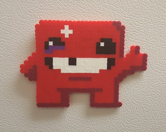 Meat Boy, Perler, Bead Pixel Art, Bandage Girl, fun art, gamer gift, smb perler meat boy, video game art, cool fun wall art, hama 8 bit