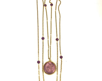 Vintage Goldette Intaglio 3 Tiered Gold Necklace with Amethyst Crystal Details and Grecian Pendant