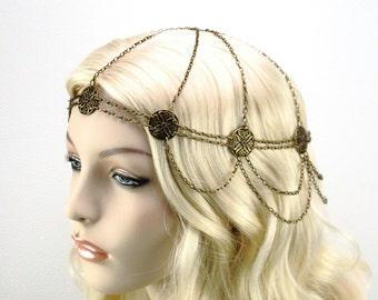 Maiden Wasila headchain, antique bronze circlet, renaissance headpiece, headchain, medieval headdress, renaissance head chain, boho
