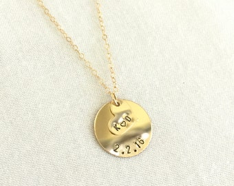 Personalized Disc Necklace, Anniversary Necklace, Engagement Necklace, Valentine's Gift, Initial Necklace, Gold Fill Heart, Sterling Silver