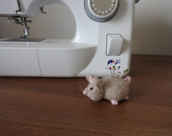 Mouse Pin Cushion Critter, Desk Toy, #OOAK, Hand knitted