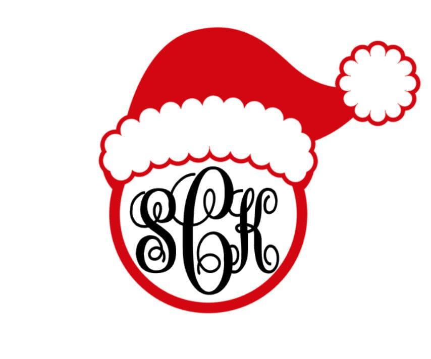 Christmas Santa Hat Monogram Vinyl Decal Custom Car Decal