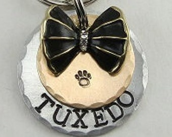 Dog Tags, Dog Id Tag, Pet Tags, Bow Tie Dog Tag,Pet Id Tag, Personalized Pet Tag,Custom Tag,Dog Name Tag,Dog Tags for Dogs,Wedding Dog Tag