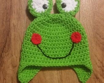 Baby Frog Hat, Infant 0-3 month, Froggie Hat, Crochet Baby Hat, Knit Hat, Photo Prop