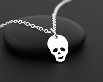 Sterling Silver Skull Necklace, Pirate Necklace, Pirate Skull, Skull Jewelry for Women, Mini Skull, Halloween Necklace, Small Skull