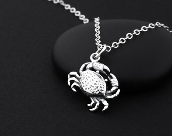 Crab Necklace, Crab Jewelry, Sterling Silver, Zodiac Cancer Necklace, Cancer Zodiac Jewelry, Ocean Inspired Jewelry, Crab Charm, Crab Gift