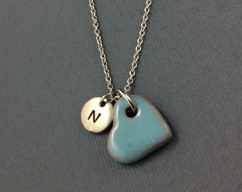 Heart Necklace-Turquoise Heart-Personalised With Hand Stamped Initial Charm-Heart Pendant-Heart Jewellery-Gift For Her-Gift For Girlfriend