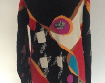 Vintage 1990's Windsmoor Abstract Cubism Lambswool Blend Jumper - UK Size 16/US Size 12 - 1993