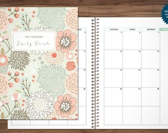 2017 MONTHLY planner custom planner month at a glance planner 2017-2018 calendar MAG / choose your start month / sage pink gold floral