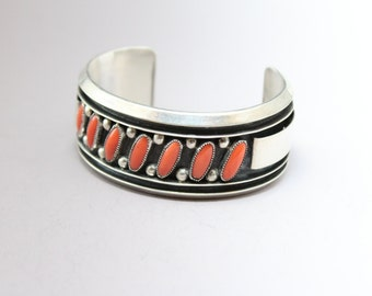Vintage Sterling Silver Native American Coral Old Pawn Cuff Bracelet