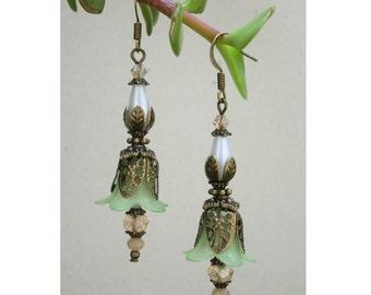 Vintage Style Bronze Green Lucite Flower & Swarovski Crystal Earrings