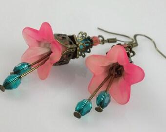 Vintage Style Bronze Teal & Pink Lucite Flower Swarovski Crystal Earrings