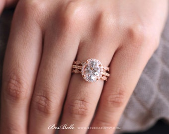 4.63 ct,tw Art Deco Bridal Set Ring-Oval Halo Engagement Ring W/ Two Eternity Band Ring-Rose Gold Plated-Sterling Silver [65230RG-3]