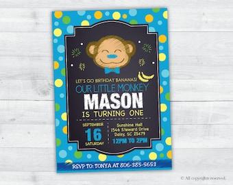 Jungle Monkey Birthday Invitation (blue)