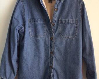 90's Woolrich Fleece Lined Denim Shirt, Stonewashed Denim, Size L