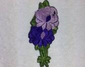 Vintage Silk Purple Flower Patch Embroidery Applique Patches Antique Flower Patch 1935