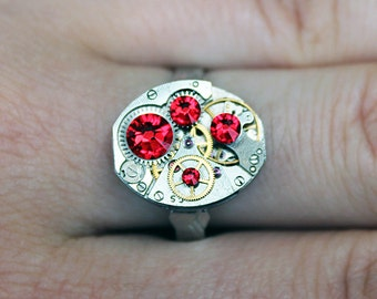Steampunk ring, red ring, swarovski ring, steampunk jewelry