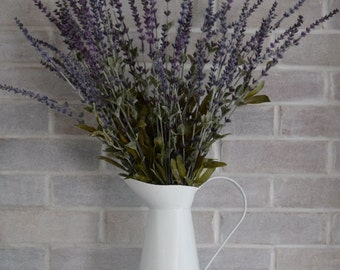 French Country Lavender Arrangement | Rustic Farmhouse Decor | Faux Lavender in White Pitcher | Home Decor Gift