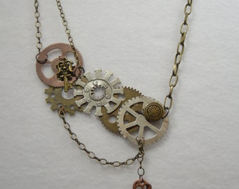 Necklace Steampunk Gears Chains Locks and Keys