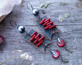 "Earrings wire copper, natural red coral, delicate, boho style, metal ""Spring trills""  art. 9085"