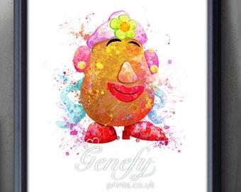 Disney Pixar Mrs Potato Head Watercolor Poster Print - Watercolor Painting - Watercolor Art - Kids Decor- Nursery Decor