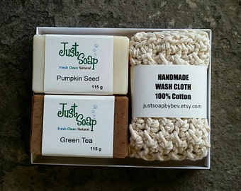 2 Bars Handmade Soap with Wash Cloth Gift Set