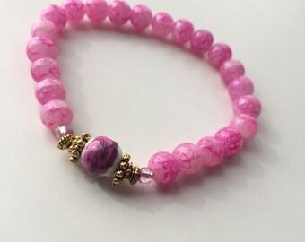 Natural pearls Bracelet: pink & gold